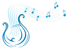 Lyre music. Design with music notes and lyre on illustration stock illustration