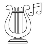 Lyre and two notes icon, outline style. Lyre and two notes icon in outline style on a white background Royalty Free Stock Image
