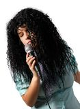 Lyric singer. A woman in a wig singing a lyric song Royalty Free Stock Image
