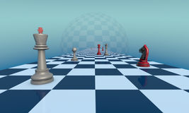 Lyrical chess composition. Chess pieces on a fantastic turquoise background. Lyrical scene.  3d illustration. Available in high-resolution and several sizes to Royalty Free Stock Photography