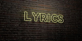 LYRICS -Realistic Neon Sign on Brick Wall background - 3D rendered royalty free stock image vector illustration