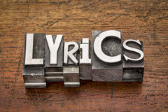 Lyrics word in metal type Royalty Free Stock Photography