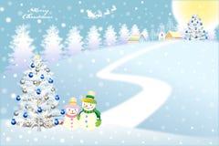 Lyrische Kerstmisachtergrond van sneeuw behandelde stad - vectoreps10 Royalty-vrije Stock Afbeeldingen