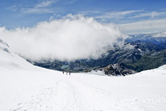 Lys glacier. Climbing vincent pyramid on monte rosa Stock Images