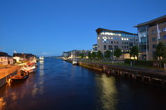 Lysaker brygge by night. Moment captured in July 2016. Nightview of Lysaker bay captured from river bridge. Right side is all offices for different businesses Stock Images