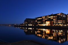 Lysaker brygge, Norway. Lysaker brygge (Norway) captured by night. Lysaker brygge 20h local time, February 2016. Residential and Office area by Oslo fjord Stock Image