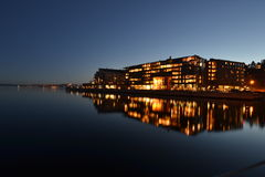 Lysaker brygge, Norway. Lysaker brygge (Norway) captured by night. Lysaker brygge 20h local time, February 2016. Residential and Office area by Oslo fjord Royalty Free Stock Photos