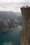 Lyse fjord en Preikestolen Stock Afbeeldingen