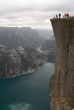Lyse fjord and Preikestolen. View at Lyse fjord and Preikestolen cliff in Norway. 600 meters above the sea level Stock Images