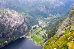 Lysefjord和Lysebotn鸟瞰图从山谢拉格山,在Forsand自治市 免版税库存图片