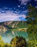 Lysefjord美丽的射击,接近Jorpeland,挪威 图库摄影