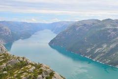 Lysefjord от утеса амвона Стоковое фото RF