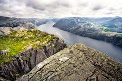 Lysefjord dalla roccia del quadro di comando Fotografie Stock Libere da Diritti