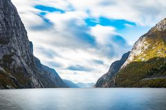 Lysefjord long exposure fjord clouds and water. Lysefjord long exposure fjord clouds water Stock Image