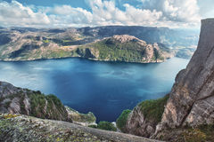 Lysefjord view from Preikestolen Royalty Free Stock Images