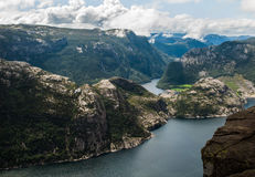 Lysefjord view from Preikestolen cliff in Norway. Norwegian landscape Royalty Free Stock Image