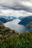 Lysefjord view from Preikestolen cliff in Norway. Norwegian landscape Stock Image
