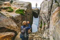 Famous Kjerag boulder, Norway
