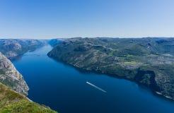 View at lysefjorden from Preikestolen/Pulpit Rock. stock image