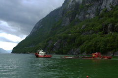 Lysefjorden ships. Royalty Free Stock Photography