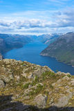 Lysefjorden view from Pulpit Rock in Norway Royalty Free Stock Photos