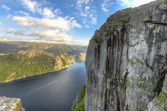 Lysefjorden view from Pulpit Rock in Norway Stock Photos