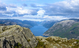 Lysefjorden view from Pulpit Rock in Norway Royalty Free Stock Photo