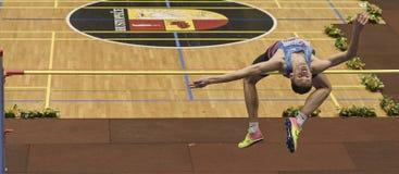 Lysenko Danil Russia utför höjdhopp under den 19th mästerskapet av inomhus höga Jumpn på Janury 27, 2018 i Hustopece Royaltyfria Bilder