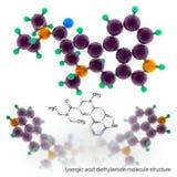 Lysergic Acid Diethylamide molecule structure Royalty Free Stock Image