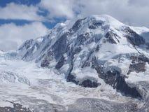 Lyskamm al massiccio di Monte Rosa, paesaggio del ghiacciaio alpino svizzero della catena montuosa in alpi, SVIZZERA Fotografia Stock Libera da Diritti