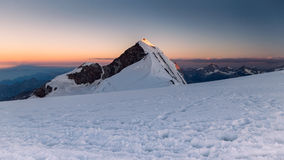 Lyskamm mountain at sunrise, Monte rosa, Italy. Lyskamm at Alps. Sunrise at Monte rosa, Italy Royalty Free Stock Images