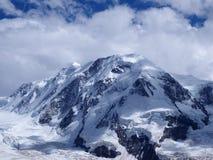 Lyskamm på den Monte Rosa massiven, landskap av den schweiziska alpina bergskedjaglaciären i fjällängar, SCHWEIZ Arkivfoton