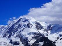 Lyskamm på den Monte Rosa massiven, landskap av den schweiziska alpina bergskedjaglaciären i fjällängar, SCHWEIZ Fotografering för Bildbyråer