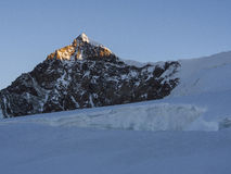 Lyskamm peak at sunrise, Monte Rosa, Alps, Italy Stock Photos