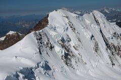 Lyskamm sur le glacier de rosa de monte Photos libres de droits
