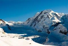 Lyskamm in winter. Lyskamm mountain peak in winter, view from Gornergrat, Zermatt, Switzerland Stock Images