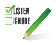 Lyssna eller ignorera designen för illustrationen för kontrollasken Royaltyfria Foton
