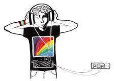Lyssna till musik royaltyfri illustrationer