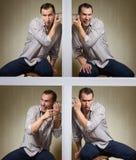 Lyssna till och med väggen fotografering för bildbyråer