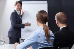 Lyssnande intressant presentation för anställda royaltyfri foto