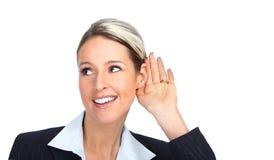 lyssnande kvinna för affär royaltyfria bilder