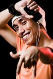 lyssnande male musik för asiat till Royaltyfria Foton