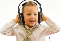 lyssnande musik för barn Royaltyfria Foton