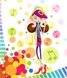 Lyssnande musik för flicka i headphone Arkivbild