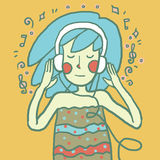 lyssnande musik för flicka till också vektor för coreldrawillustration stock illustrationer