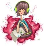 lyssnande musik för gullig flicka vektor illustrationer