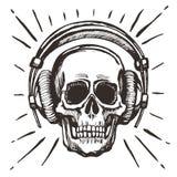 Lyssnande musik för mänsklig skalle Arkivfoton