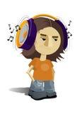 lyssnande musik för pojke till Royaltyfri Foto