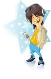 lyssnande musik för pojke till stock illustrationer