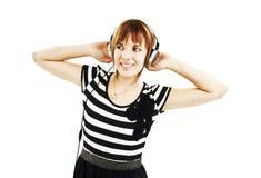 lyssnande musik för flicka till Royaltyfri Fotografi